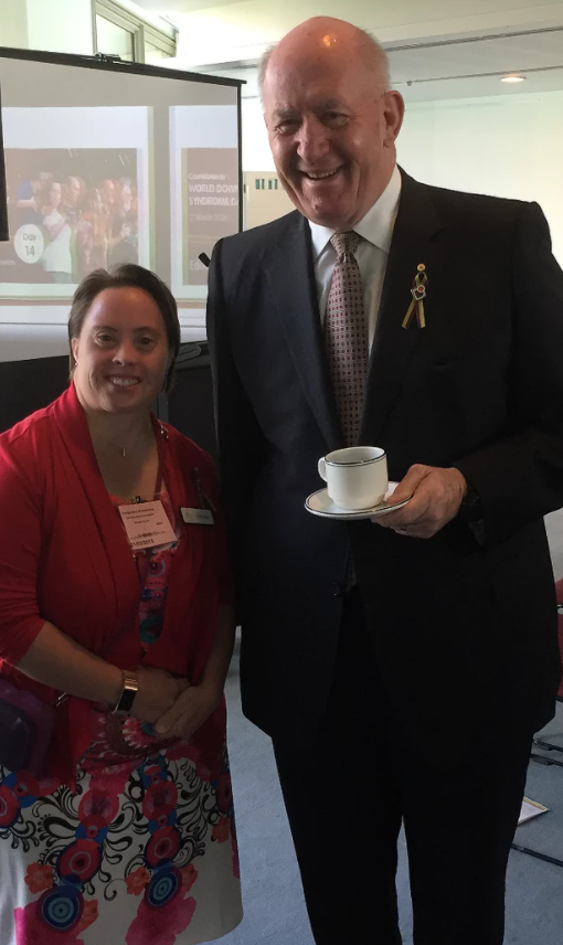 Kylie with then Governor-General Sir Peter Cosgrove on World Down Syndrome Day